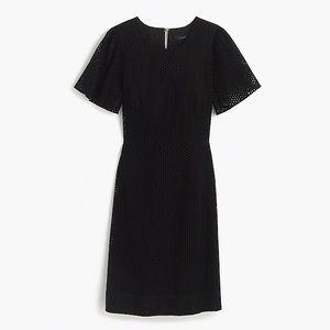J. Crew Flutter-sleeve Size 0 Black eyelet Dress